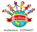 multicultural kids wearing xmas ...   Shutterstock .eps vector #522946057
