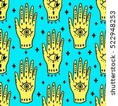 pattern fashion hands hamsa... | Shutterstock .eps vector #522948253