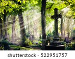 old cemetery with a big cross.... | Shutterstock . vector #522951757