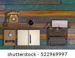vintage typewriter and coffee... | Shutterstock . vector #522969997