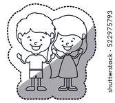 isolated girl and boy cartoon... | Shutterstock .eps vector #522975793