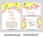 invitation with floral... | Shutterstock .eps vector #523010167