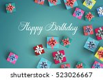 happy birthday and gift box on... | Shutterstock . vector #523026667