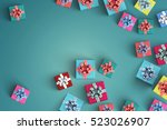 lot of gift box on color... | Shutterstock . vector #523026907