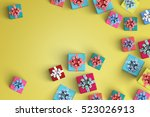lot of gift box on color... | Shutterstock . vector #523026913