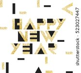 happy new year postcard golden. ... | Shutterstock .eps vector #523027447