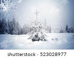 trees covered with hoarfrost... | Shutterstock . vector #523028977