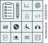 set of 12 universal editable... | Shutterstock .eps vector #523034743