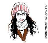 fashionable stylish womanwith... | Shutterstock .eps vector #523042147