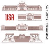 usa travel landmarks icon with... | Shutterstock .eps vector #523046797