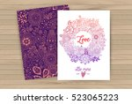 floral card design  pattern and ... | Shutterstock .eps vector #523065223