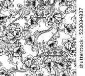 eclectic fabric seamless... | Shutterstock .eps vector #523084837