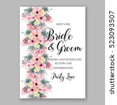wedding invitation floral... | Shutterstock .eps vector #523093507