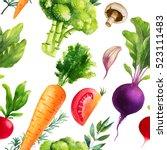 watercolor seamless pattern.... | Shutterstock . vector #523111483