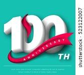anniversary emblems 100... | Shutterstock .eps vector #523122007