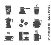 coffee icon set | Shutterstock .eps vector #523150483