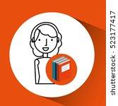 library books school woman... | Shutterstock .eps vector #523177417