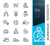 Stock vector lineo fitness and gym line icons 523183273