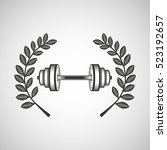 barbell sport emblem laurel... | Shutterstock .eps vector #523192657