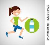 girl jogger bottle water... | Shutterstock .eps vector #523195423