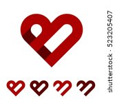 b letter red heart logo template
