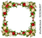 vector christmas frame with fir ...