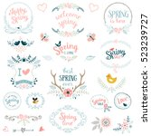 hand drawn spring collection... | Shutterstock .eps vector #523239727