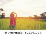child happy with mountain view... | Shutterstock . vector #523241737