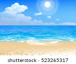 seashore vector of an ocean and ... | Shutterstock .eps vector #523265317