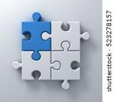 blue jigsaw puzzle piece stand... | Shutterstock . vector #523278157