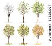 seasons of tree vector | Shutterstock .eps vector #523283017