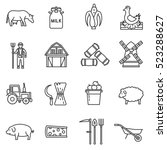 farm icons set. agriculture and ... | Shutterstock .eps vector #523288627