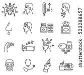 flu icons set. ari  thin line... | Shutterstock .eps vector #523288657