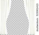 white curtains on transparent... | Shutterstock .eps vector #523301413