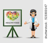 doctor with healthy food banner.... | Shutterstock .eps vector #523303147