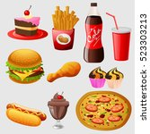 fast food cartoon collection.... | Shutterstock .eps vector #523303213