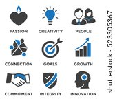 company core values solid icons ... | Shutterstock .eps vector #523305367