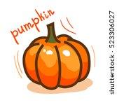 doodle pumpkin. vector paint... | Shutterstock .eps vector #523306027