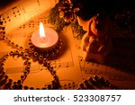 christmas decorations  candles  ... | Shutterstock . vector #523308757