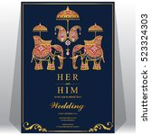 indian wedding card  elephant... | Shutterstock .eps vector #523324303