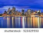sydney city cbd landmarks...   Shutterstock . vector #523329553