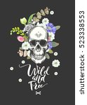 smiling skull and flowers day... | Shutterstock .eps vector #523338553