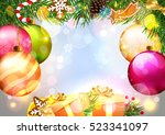 christmas. card with christmas... | Shutterstock .eps vector #523341097