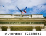French And Eu Flag Over Consei...