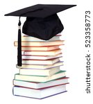 stack of book and graduation... | Shutterstock . vector #523358773