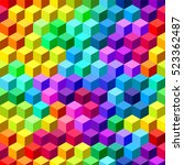 colorful bright cubes. seamless ... | Shutterstock .eps vector #523362487