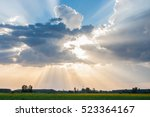 sun and clouds over corn fields | Shutterstock . vector #523364167