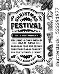 vintage christmas festival... | Shutterstock .eps vector #523391977