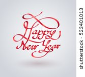 red ribbon of happy new year... | Shutterstock .eps vector #523401013