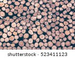 pile of wood logs ready for... | Shutterstock . vector #523411123